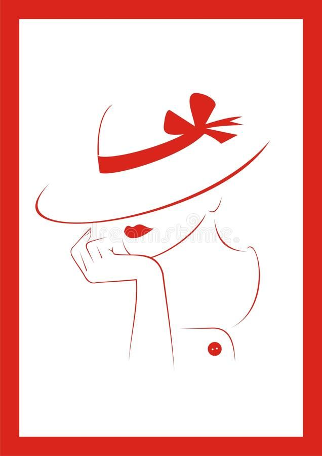 Photo About Woman In Hat Vector Illustration Jpeg Eps Illustration Of Beauty Woman Clothes 1378240 Flower Line Drawings Hats For Women Hat Illustration