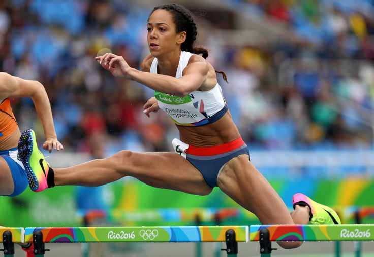 Katarina Johnson-Thompson of Great Britain competes in the Women's Heptathlon 100 Meter Hurdles on Day 7 of the Rio 2016 Olympic Games at the Olympic Stadium on August 12, 2016 in Rio de Janeiro, Brazil.
