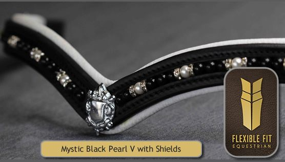 Mystic Black Pearl V with Shields White Padded Gel Browband - Black