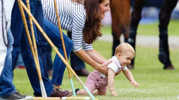 While it was a day to honor Prince William, who was celebrating his first Father's Day, his growing son stole the show today, making his first public appearance since the tour last month to Australia and New Zealand, just a month shy of his first birthday