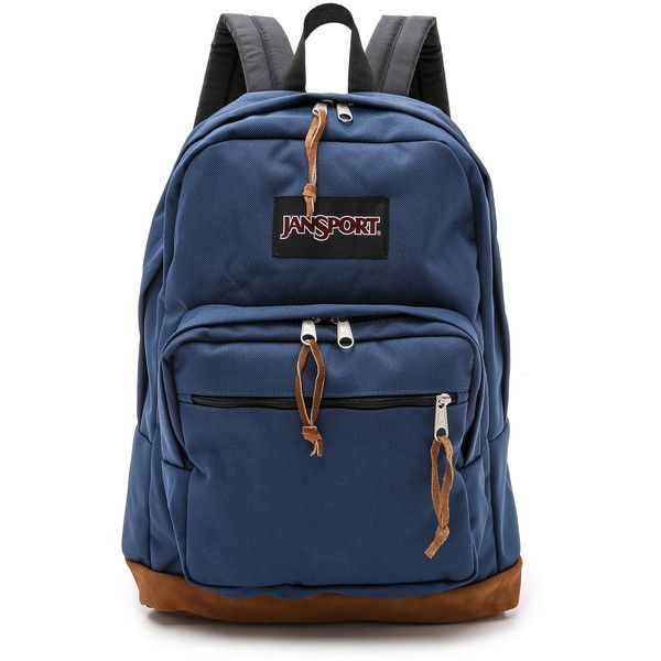 JanSport Classic Right Pack Backpack (£36) ❤ liked on Polyvore featuring bags, backpacks, navy, backpacks bags, jansport daypack, blue bag, zip top bag e logo bags