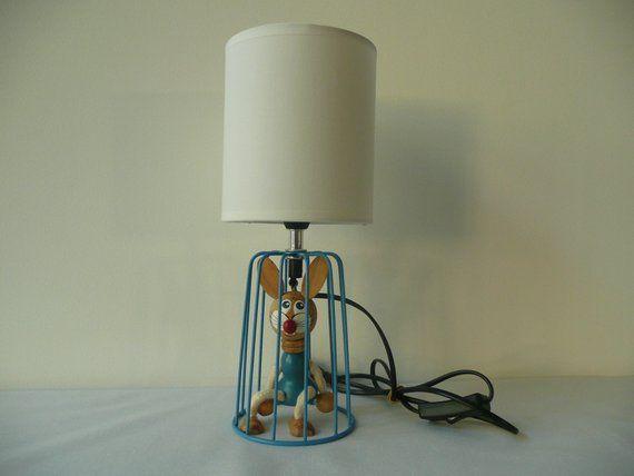 Lampe Metal Lampe Bois Lapin Bois Lampe Enfant Lampe De Chevet Bleu Et Blanc Unique Fait Main Lampe Bois Lampe Metal Lampe De Chevet