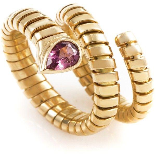 preowned bulgari tubogas 18k yellow gold tourmaline ring liked on