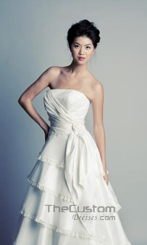 A-line Strapless Chapel Taffeta Wedding Dresses 1277208Maryann