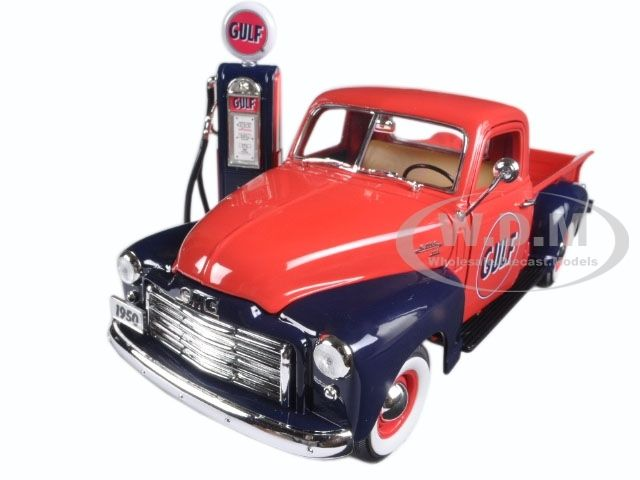 diecastmodelswholesale - 1950 GMC 150 Pickup Truck Gulf Oil with Vintage Gas Pump 1/18 Diecast Model Car  by Greenlight, $49.99 (http://www.diecastmodelswholesale.com/1950-gmc-150-pickup-truck-gulf-oil-with-vintage-gas-pump-1-18-diecast-model-car-by-greenlight/)