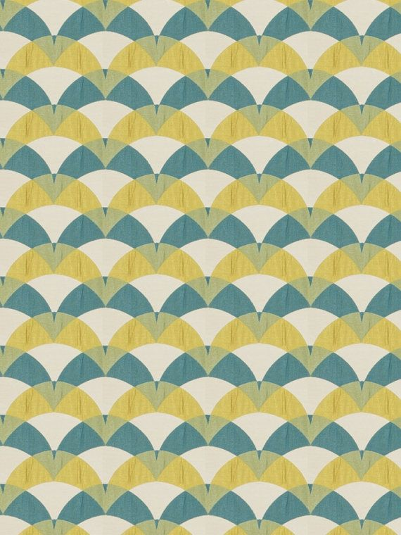 Teal Yellow Upholstery Fabric - Geometric Fabric by the Yard - Modern Teal  Drapery Fabric