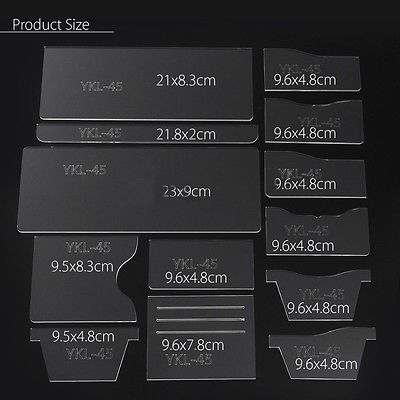 13Pcs Clear Acrylic Short Wallet Pattern Stencil Template Set Leather Craft Tool