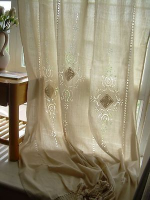 Tab-Top-Hollowed-out-Embroidered-Beige-Cotton-Linen-Crochet-Lace-Curtain-F001