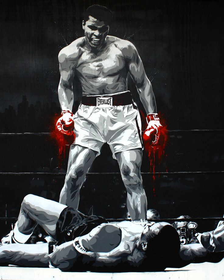 "Cassius Clay | 48"" x 60"", 7 layer stencil of Boxer then know… 