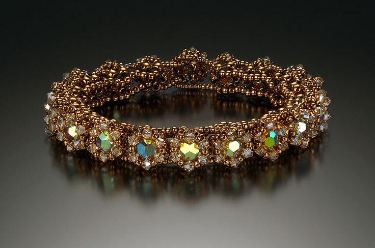 Golden Gate Bracelet  8/0, 11/0, 15/0 Japanese seed beads; Swarovski 6 mm round crystals, 2.5 mm Xilion crystals