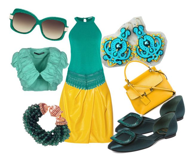 saffron teal by galeriamagia on Polyvore featuring moda, maurices, Annarita N., Vionnet, Roger Vivier, Lanvin and Linda Farrow Luxe