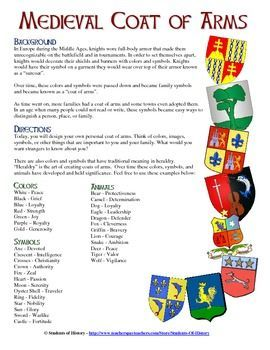 "This excellent Coat of Arms project is great for a unit on the Middle Ages or for a back-to-school ""get to know each other activity""! Included is a directions page that gives the historical background of Coats of Arms and heraldry, as well as simple instructions for students on how to create a Coat of Arms. Next is a fantastic printable Coat of Arms template to use in class and a rubric to help with grading. Your students will love making these!:"