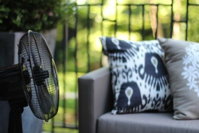 Use a fan to keep flies away from your deck or party - Scientists say that flies' wings are unable to operate in a breeze above 9 miles per hour