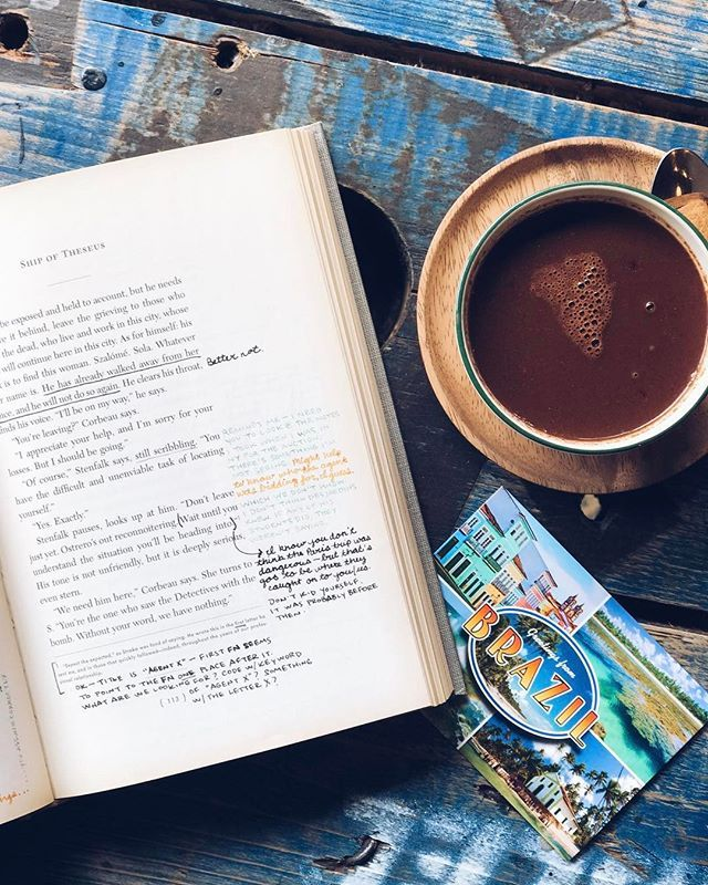 """WEBSTA @ zibaartystone - Hot chocolate   mystery reading ☕️★ ★ ★ ★ ★ If you're up for a reading challenge during Easter/Spring break I suggest you pick up a copy of J.J Abrams and Doug Dorst's """"S"""" (Ship of Theseus). I FINALLY started this last night after having stared at it on my shelves for 2 years and just 8 pages in I'm completely hooked! In the margins you'll see annotations made by two people who've found the book in an old library and are investigating the mystery behind the existence…"""