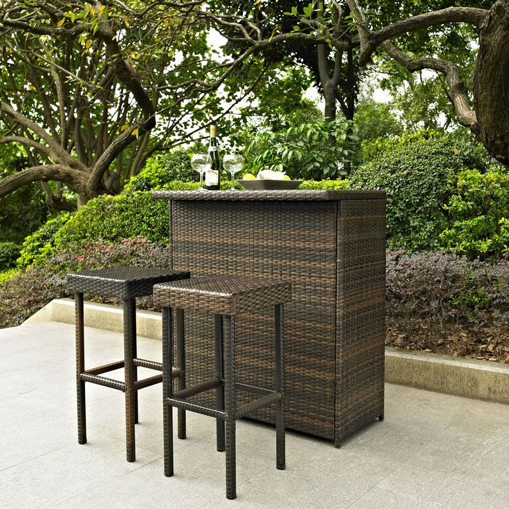 Crosley Palm Harbor 3 Piece Outdoor Wicker Patio Bar Set   KO70009BR