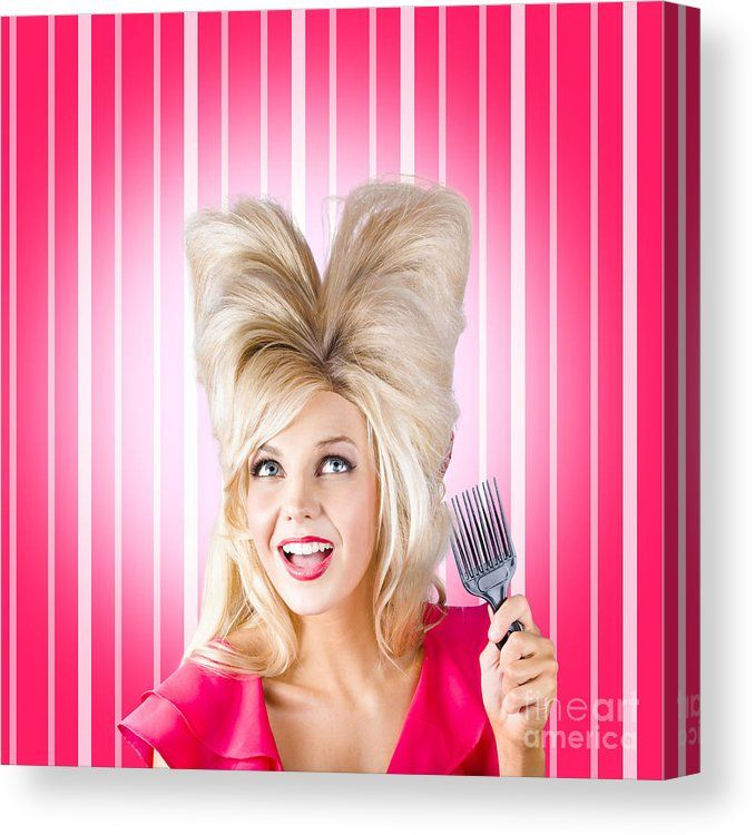Hairdressing Canvas Print featuring the photograph Retro Woman With Hairstyle Love. Heart Shape Hair by Jorgo Photography - Wall Art Gallery