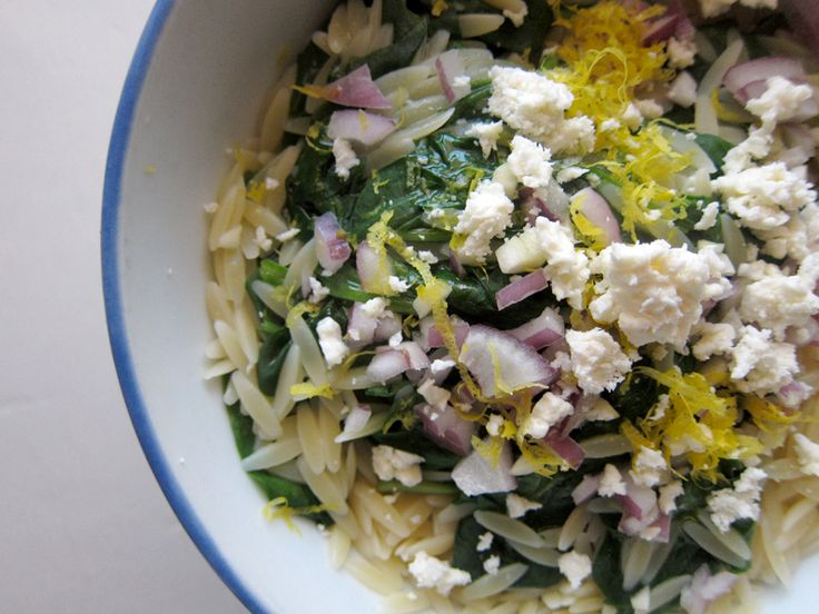 lemon orzo with spinach, feta & almonds