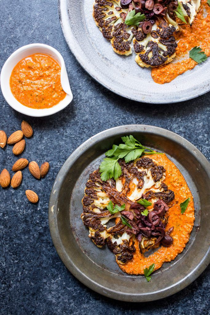 Cauliflower Steaks with Spicy Romesco Sauce from The Girl In The Little Red Kitchen