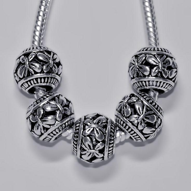 """Купить Бусины тибетские """"Бабочка"""" - серебряный, европейские бусины, бусины Пандора, бусины металлические"""