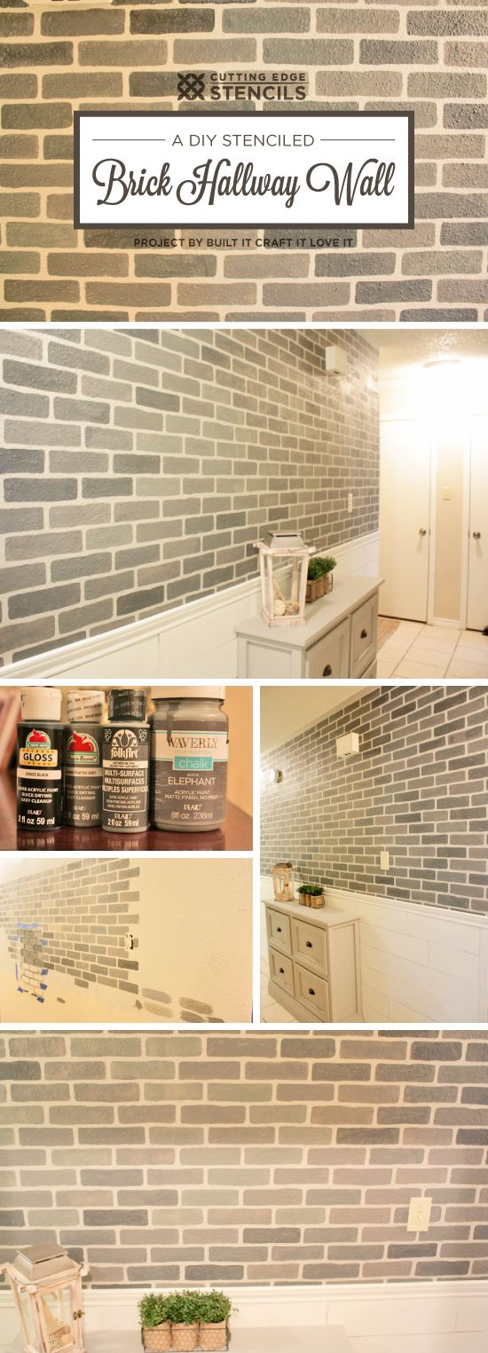 Cutting Edge Stencils shares a DIY stenciled hallway accent wall using the Brick Allover Stencil in gray colors. http://www.cuttingedgestencils.com/bricks-stencil-allover-pattern-stencils.html