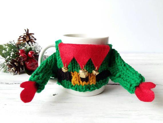 Elf Sweater Mug Cozy  Mug Sweater Cozy  Christmas Mug Cozy