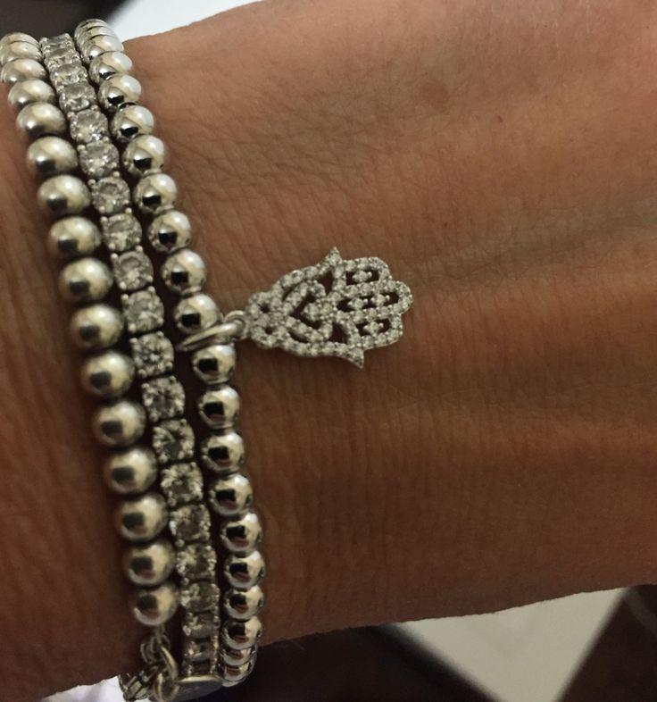 Hamsa Hand Bracelet, Sterling Silver Bracelet, Bead Bracelet, Bracelet, Gift for Her, Birthday Gift, Anniversary, Bracelet with Bling by HamsaJewellery on Etsy