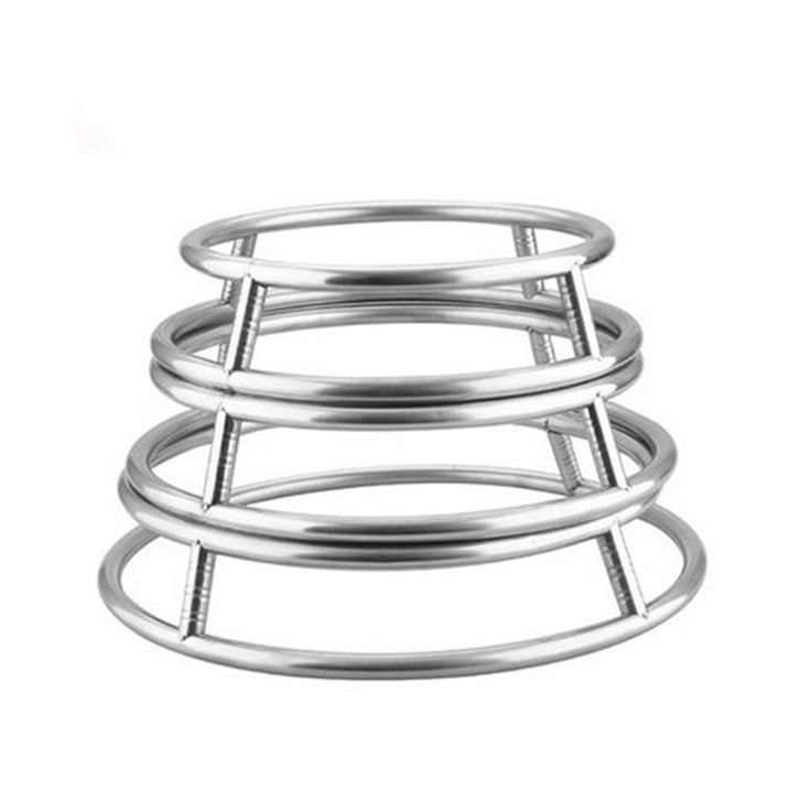 Factory direct multi-functional stainless steel tube pot rack kitchen storage rack creative round anti-hot frying pan Hot S