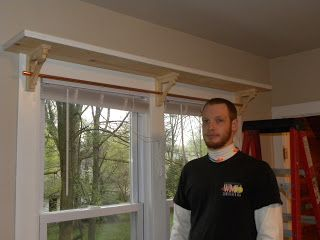 Over window shelf with curtain rod; this is exactly what I want to do!
