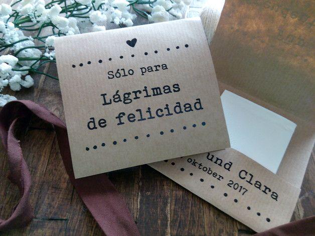 Pack de 10 pañuelos de papel para lágrimas de felicidad - detalles de boda - hecho a mano en DaWanda.es