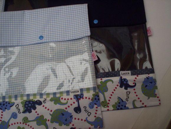 Saquinhos pra maternidade dinossauro tecido 100% algodão 5 unidades nome opcional no saquinho