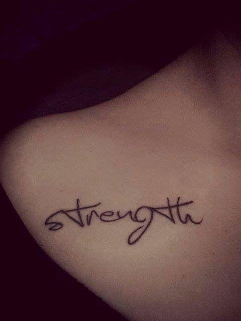Strength tattoo.