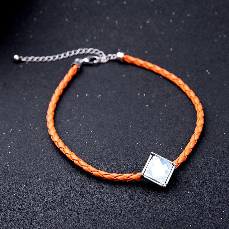New Trendy Imitation Leather Fashion Braided Choker Necklace Black Orange Square Charm Handmade Women Necklace
