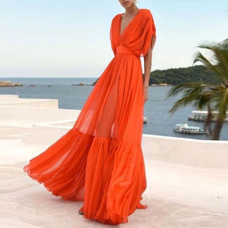 Fashion V Collar High Waist Chiffon Vacation Maxi Dress