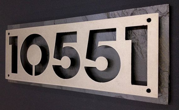 Custom steel and natural slate house numbers by Rancidmetals