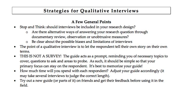 Methodologies - Strategies for Interviews