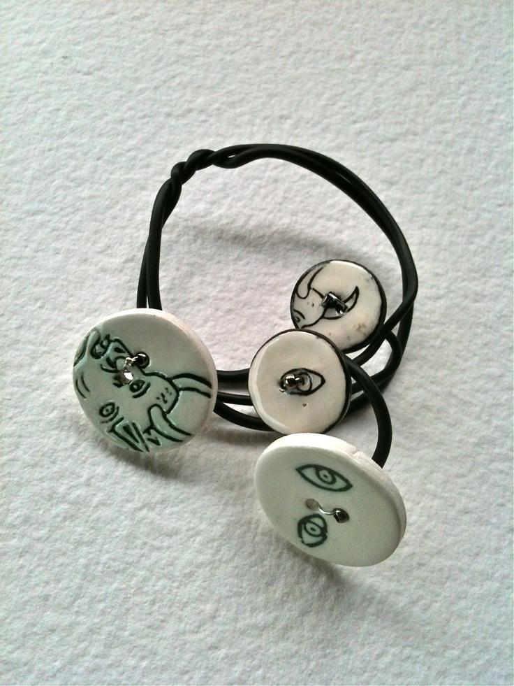 Bracelet, pulsera. Plástico, cerámica artística de Terra terra.