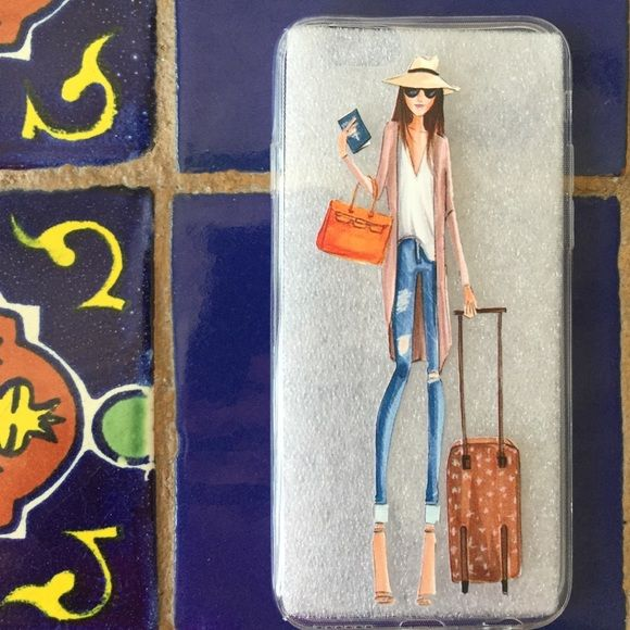 """""""Going away"""" phone case Clear silicone flexible case for iPhone 6/6S.  Girl holding passport with suitcase.  Price firm.  2 for$15 if you mix with another marked case in closet.  New in packaging. Accessories Phone Cases"""