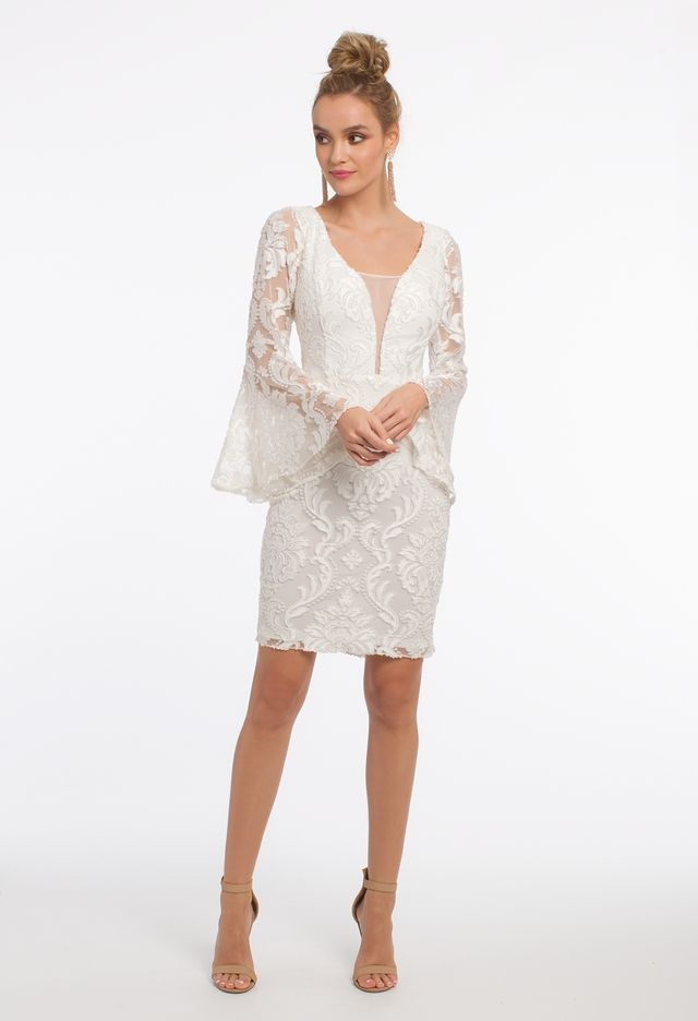 Long Sleeve Flare Burnout Plunge Dress from Camille La Vie and Group ... 6f02f493f