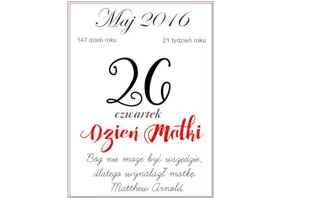 Kartka z kalendarza W Dniu Ślubu - freebies