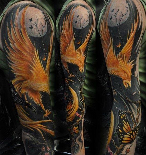 Phoenix Tattoo Designs for Men | Orange Phoenix Tattoo Sleeve