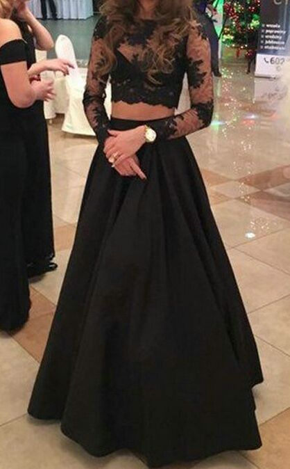 Black Dresses,Prom Dresses With Sleeves,Black Lace Satin Two Pieces Prom Dresses With Sleeves,A-line Long Prom Dresses For Teens,Evening Dresses,Beautiful Party Dresses,Women Dresses