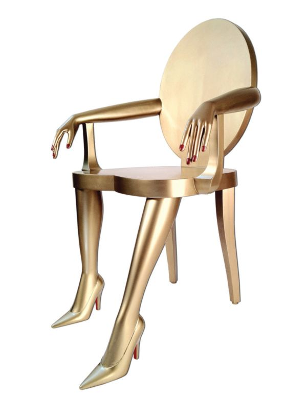 """The Titi Chair - Hand carved Maple with a painted gold finish. Dimensions: 35"""" H x 22"""" W x 26""""D, Seat is 18"""" H, Arm is 25 1/2"""" H. Custom finishes available. Marjorie Skouras Design. Los Angeles, CA."""