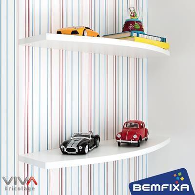 Prateleira Arco - Linha Formato VIVA Bricolage, da Bemfixa. Com suportes invisíveis.