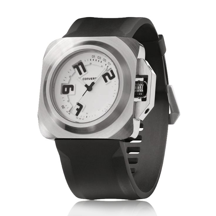 Converse - Overtime - Stainless steel screw in back case, Crown protection lock, Pin buckle, Luminescent hands.. Watch and learn. It's got all the moves—and three hands—to keep the game going. Analog timekeeper with silicone strap, crown guard, layered dial with custom numbers cut-outs.