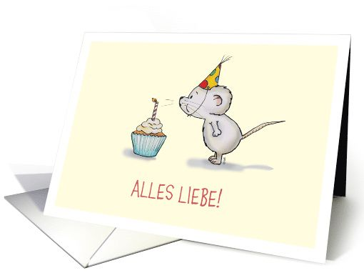 Cute birthday mouse blowing out a candle
