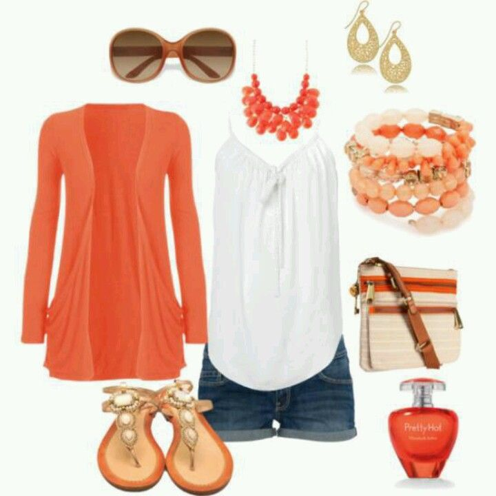Denim shorts, loose tank, colored open-front cardigan, sandals and coordinating jewelry.