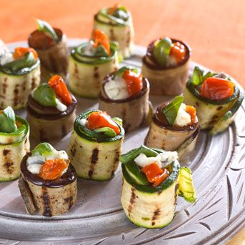 Roasted courgette and aubergine rolls
