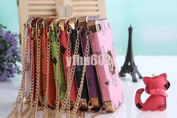 Cute PU Leather Skin Chrome PC Back Case Cover for iPhone 5 5S + Shoulder Strap #UnbrandedGeneric