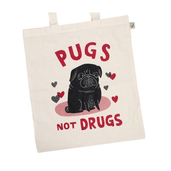 Pugs Not Drugs (Black Pug) Tote Bag -