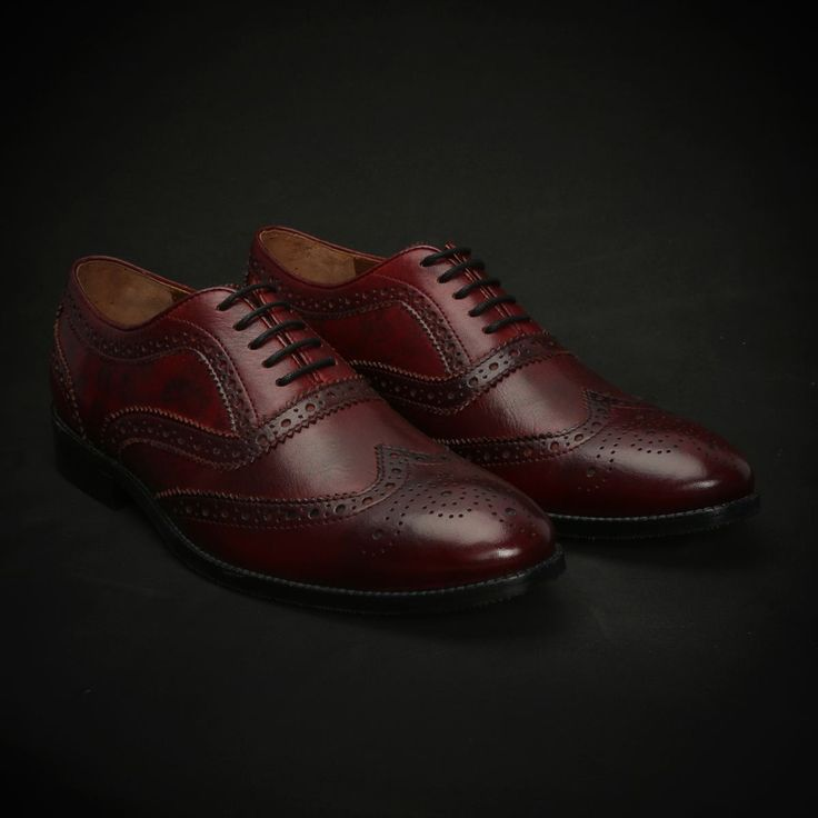 BUY WINE DUAL SHADE HAND PAINTED LEATHER #BROGUE SHOES, NEW EXCLUSIVE COLLECTION BY #BRUNE